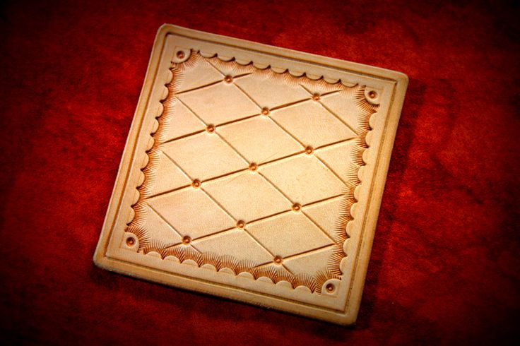 Hand Tooled Full Grain Leather Coasters cut from full grain vegetable tanned leather and dyed with your choice of multiple color options.  Quilted Pattern