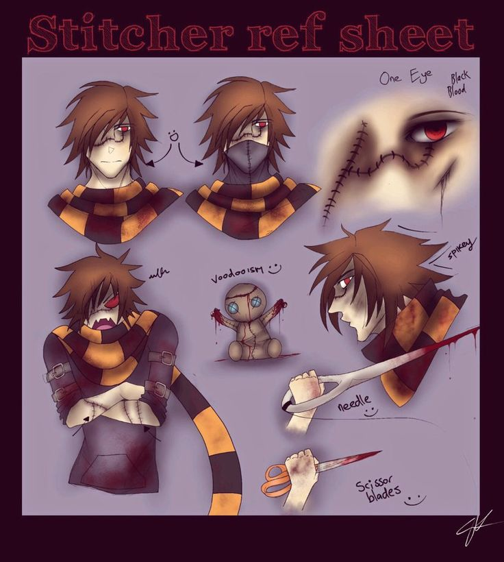 Names: The Stitcher, Stitcher, Stitchy, Andy Quotes: Peek-A-Boo! I stitch you... Squishykitt creepypasta oc http://squishykitt.deviantart.com/art/The-Stitcher-Creepypasta-449471960