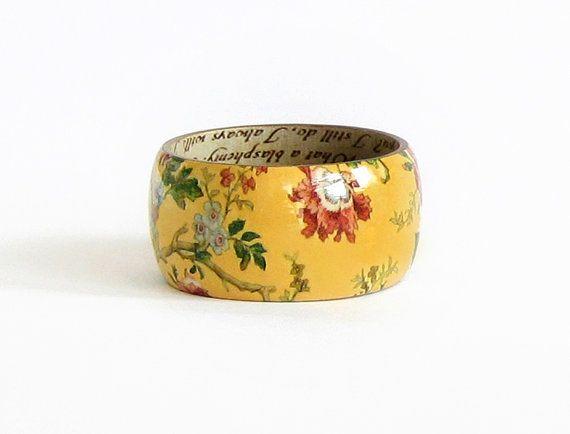 Kimono floreale stampa legno bangle Bracciale mano verniciato decoupage istruzione floreale bracciale bangle Colore: giallo Diametro: 2,64/ 6,7 cm;