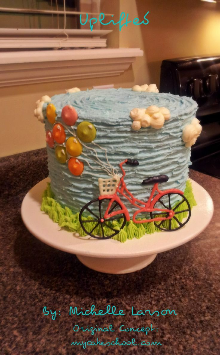 Ballon Cake Buttercream Texture Bicycle Basket Tall