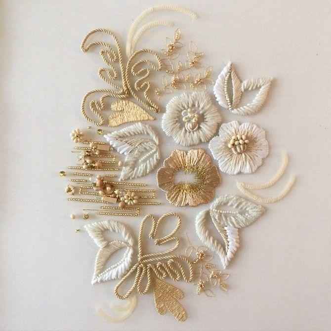 リュネビル刺繍 Lesson 【Level2 白花の額装】ができました。 | オートクチュール刺繍 L'aiguille