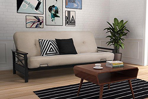 DHP Nadine Metal Futon Frame with Espresso Wood Armrests,