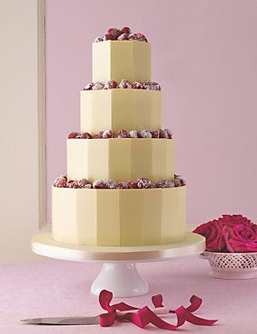 White Chocolate Plaque Wedding Cake Weddingheartcouk