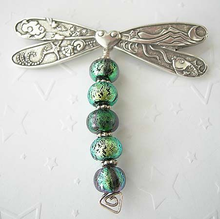 "Penny Michelle Jewelry: ""One-of-a-kind"" Finished Pieces ~ Dragonfly Dreams Pin (This piece beautifully combines sterling silver and colorful dichroic beads by Paula Radke. The detailed wings have scenes from the sea and sky.)"