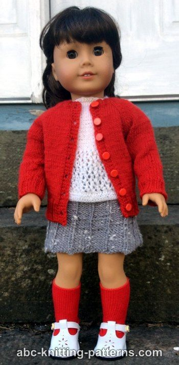 ABC Knitting Patterns - American Girl Doll Winter Nights Cardigan