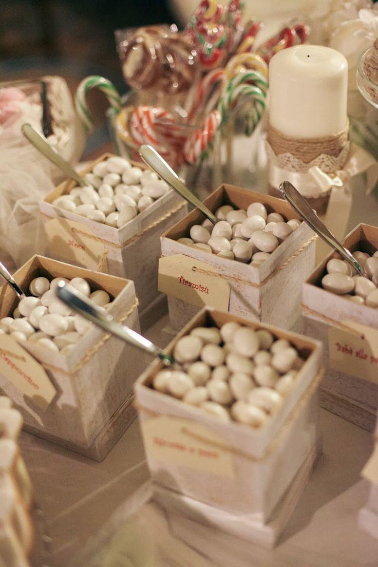 #confetti e #caramelle per tutti.           vasetti e cassette legno
