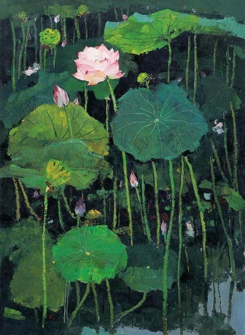 Wu Guanzhong (吴冠中)  painting red lotus (红莲)