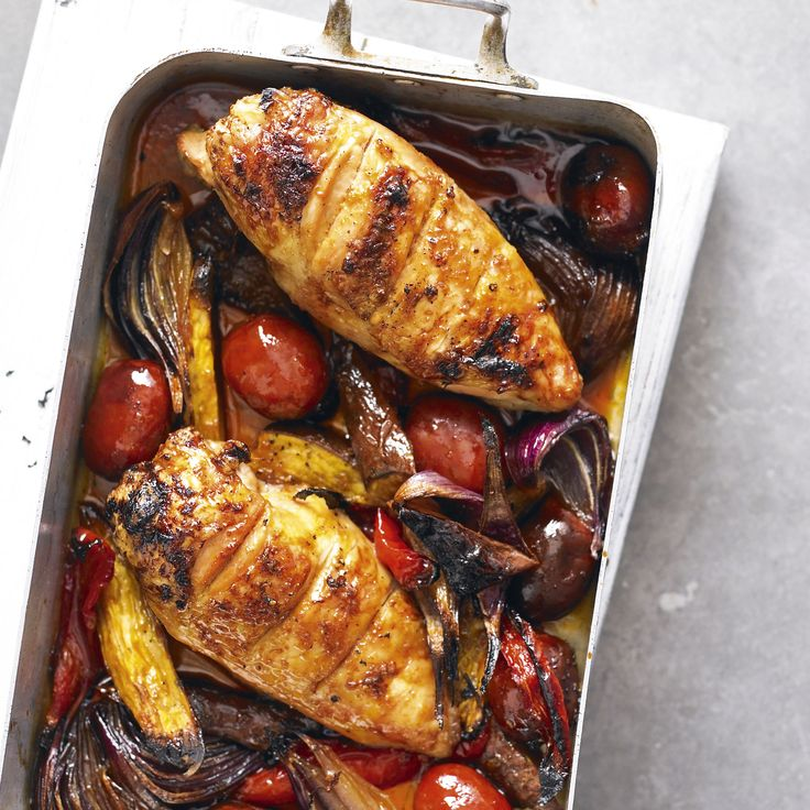 "Sticky chicken and chorizo traybake - It's lovely to have a midweek ""roast"" all cooked in one roasting tin. This recipe is lightly spicy."