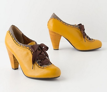 Poetic License Yellow Gingham-Trimmed Oxford Heels