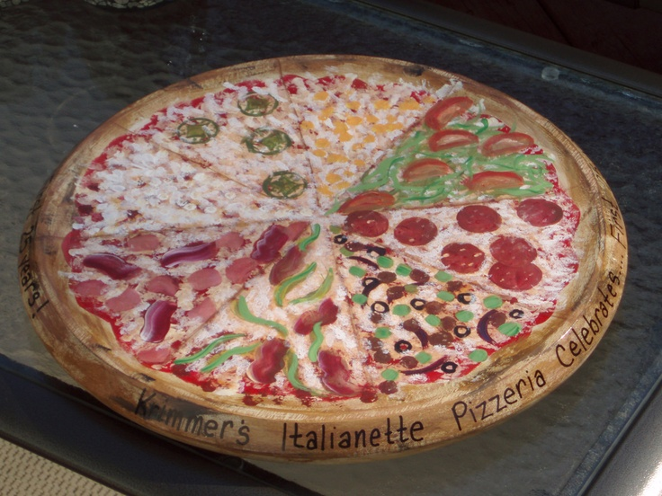 hand painted lazy susan pizza