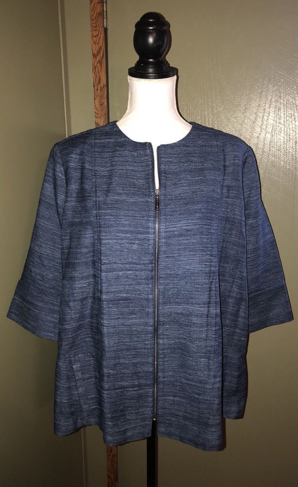 Misook Womens Silk Half Sleeve Textured Zip Front Jacket Blue Size Large Nwt Ebay Half Sleeves Misook Women