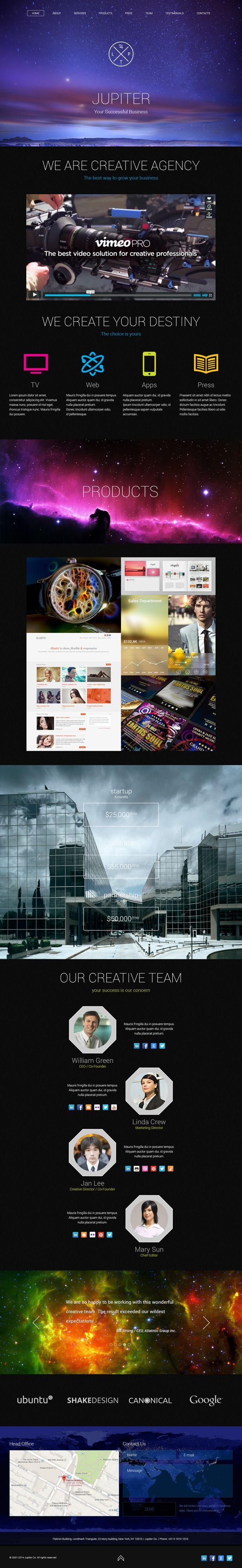 Jupiter Creative Agency. One Page PSD Template. by Antonina Osipenko, via Behance