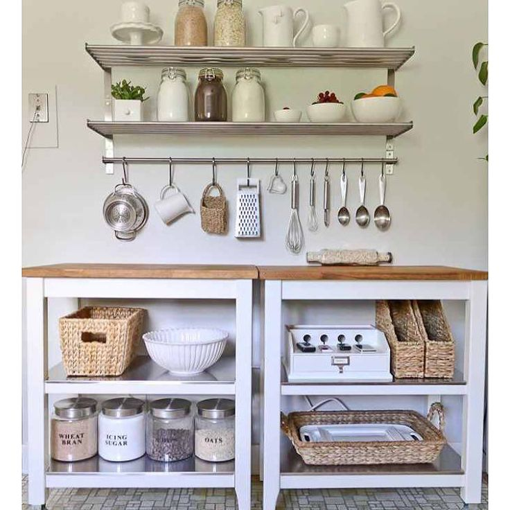 Why install full cabinets? I like the openness and flexibility of doing something like this #IKEA #tinyhouse #smallhouse #tinyhousekitchen #tinykitchen #smallkitchen #kitchen #tinyhouseideas #smallhouseideas by tinyvegantraveler