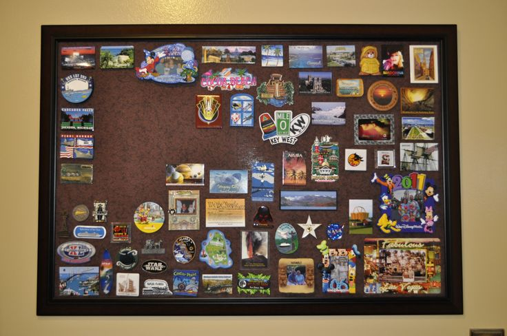 My magnetic travel magnetic board! Buy frame, insert metal bought in HVAC section of hardware store, apply fabric with spray adhesive! Easy and fun way to display magnetic collection!