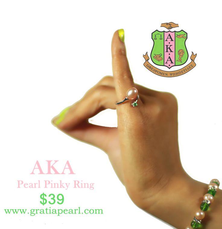 """alpha pearls"" | AKA Ring, Alpha Kappa Alpha Pinky Ring | Gratia Pearl"
