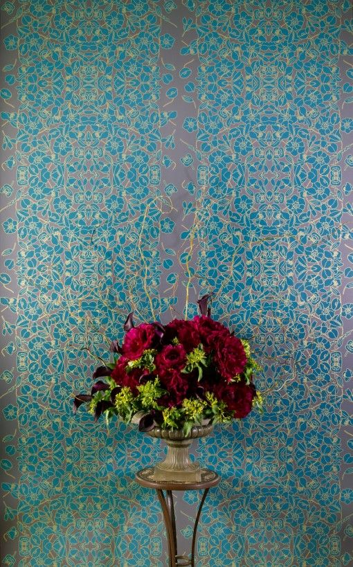 Bold Floral Wallpaper Office