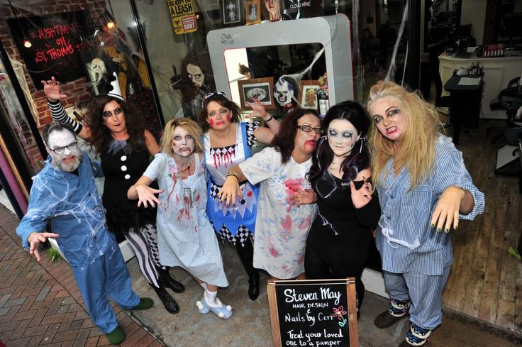 Freaky Friday in Weymouth town centre on 30th October 2015.   Steven May Hair Design.  Picture: Graham Hunt.