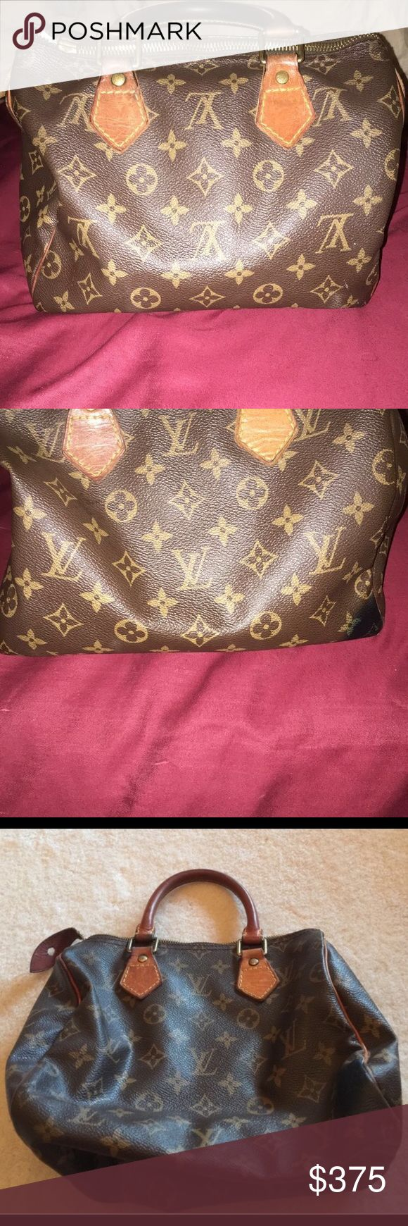 100% Authentic Louis Vuitton Speedy 25 Bag is in great condition besides what's shown in the pics. Purse also is 100% authentic, and has been authenticated. There is also a small pin mark on the side of the purse but isn't visible. Don't miss the chance to own a beautiful bag. Open to reasonable offers, no trades❌ Louis Vuitton Bags Totes