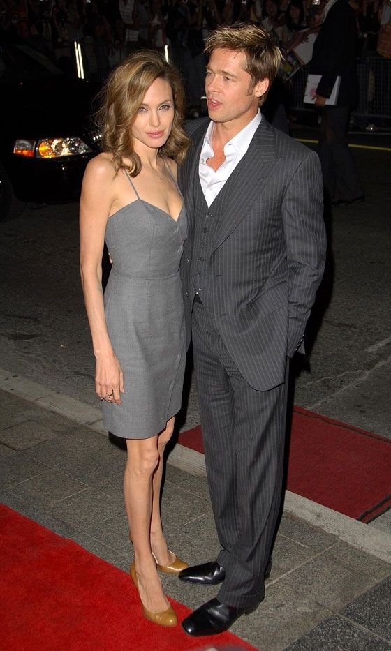 Angelina Jolie Coordinates Her Grey Dress With Husband Brad Pitt At The Toronto Film Festival, September 2007