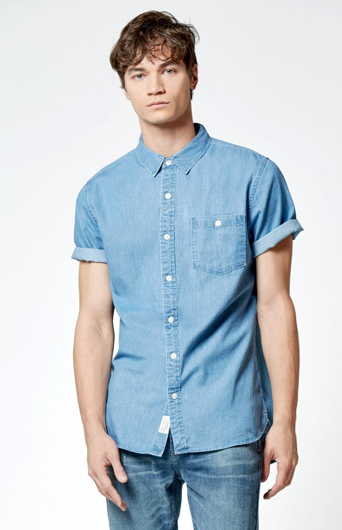 American Eagle Outfitters - Blue Floral Button-Up Shirt | Men's ...