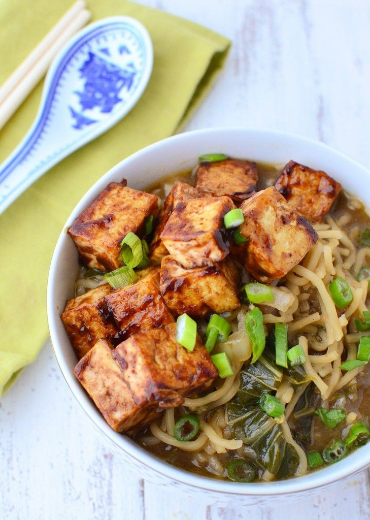 Vegan Ramen Soup! Flavorful miso broth with hoisin tofu and fresh ramen noodles. | www.delishknowledge.com #recipe