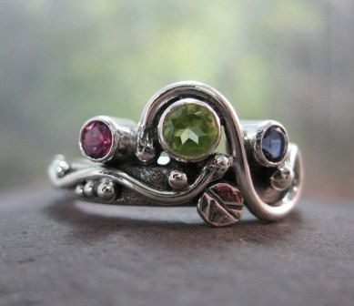 unique mother's ring. sterling silver with natural peridot, pink tourmaline, iolite . (( Wild Garden Mother's Ring )) . READY TO SHIP sz 8 on Etsy, $254.00