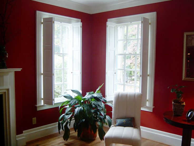 Red Walls And White Raised Panel Shutters! A Bold Look For This Lovely  Home. Interior ShuttersInterior WindowsRed ...
