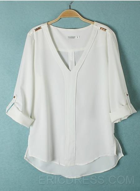 Precioso Euraerican Rivet V-cuello cómodo Blusa 1