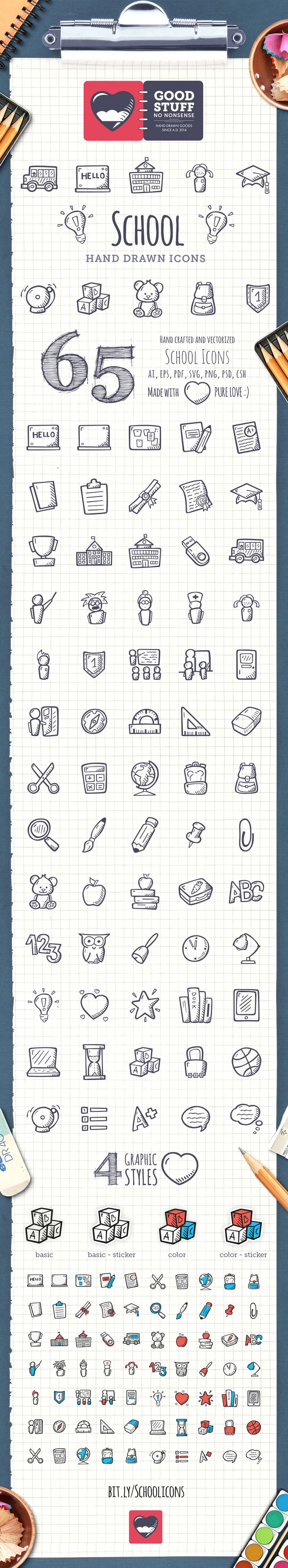 School Icons made by @weboutloud #icons #HandDrawnIcons #doodle #tinyart #etsy #scrapbooking #school #education #schoolIcons #EducationIcons