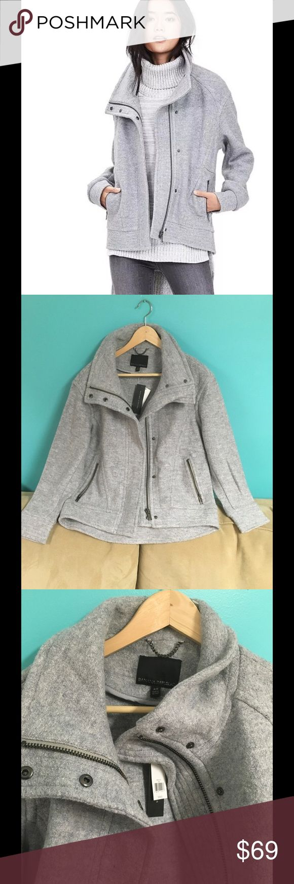 Banana republic cocoon motto zip coat jacket ~ Stand collar  ~Covered zip and snap closure  ~Long  sleeves  ~Dry clean   ~Brand new with tags Banana Republic Jackets & Coats