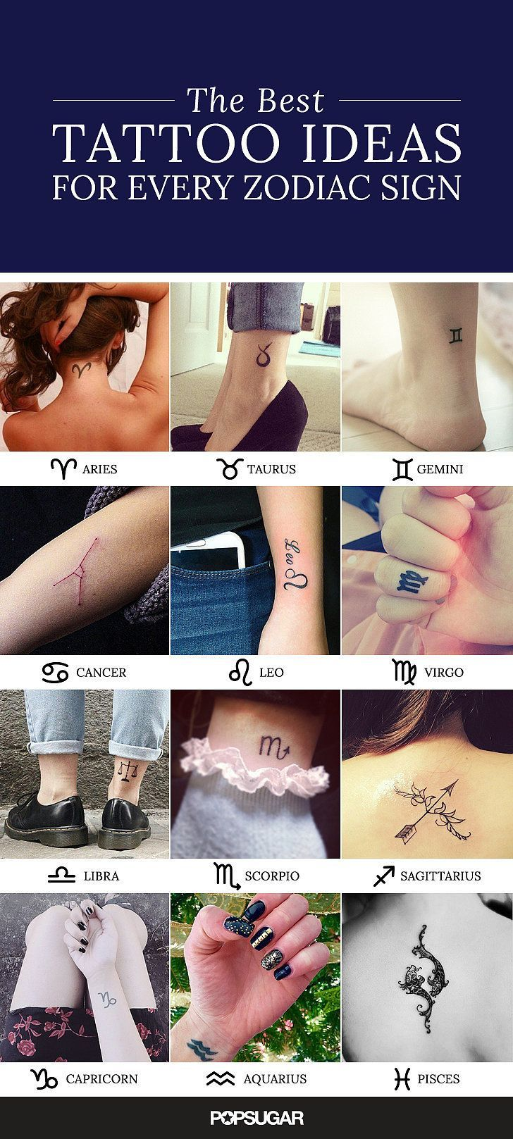 Do you read your horoscope every day? Are you always judging people based on their astrological signs? If you're looking to get new ink and totally into studying the stars, chances are a zodiac tattoo would be perfect for you. We have selected a beautiful design for every sign in the year. Check them out to get inspired!