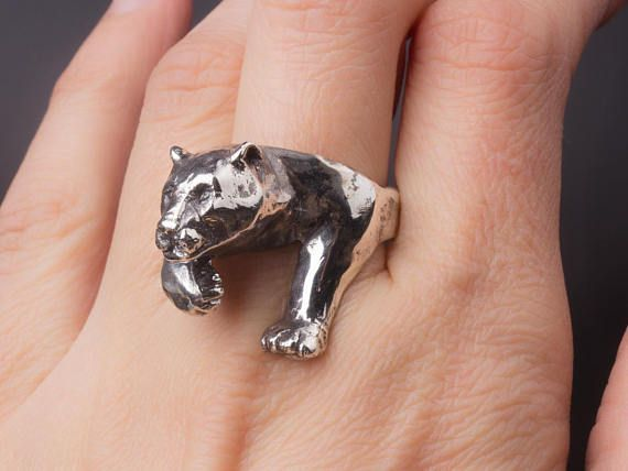 Panther ring Sterling Silver men ring Animal ring Leopard