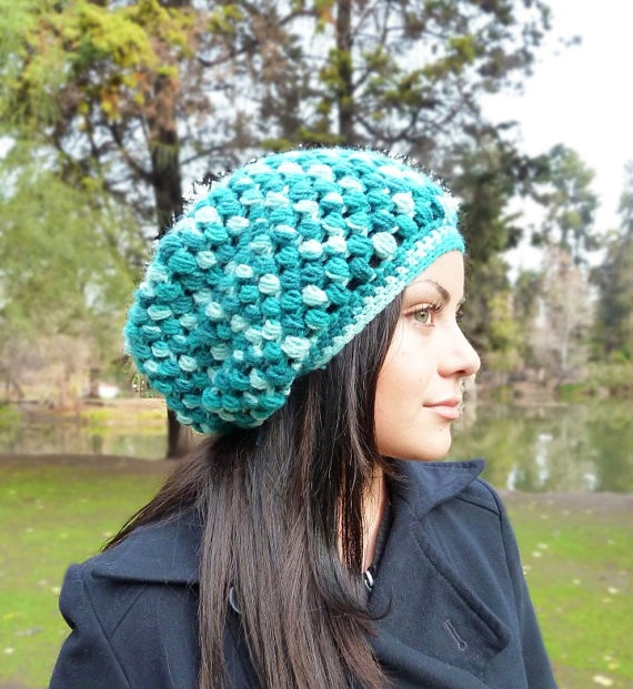 Slouchy beanie hat  Variegated TEAL  crochet  by BeanieVille, $24.95