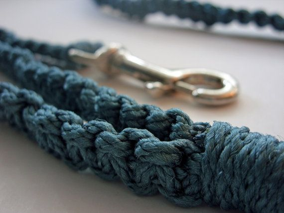 For 10% off - use Coupon Code PIN10 - Teal  Blue Macrame Leash by Balilu on Etsy, $18.00