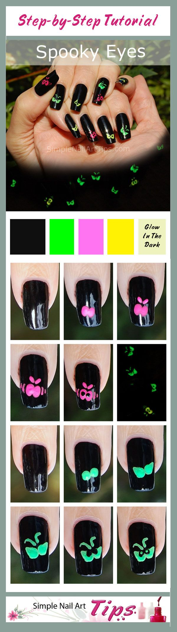 SIMPLE TUTORIAL: www.SimpleNailArtTips.com - Halloween Nails - Spooky Eyes, Glow-in-the-Dark  #nails #nailart #manicure