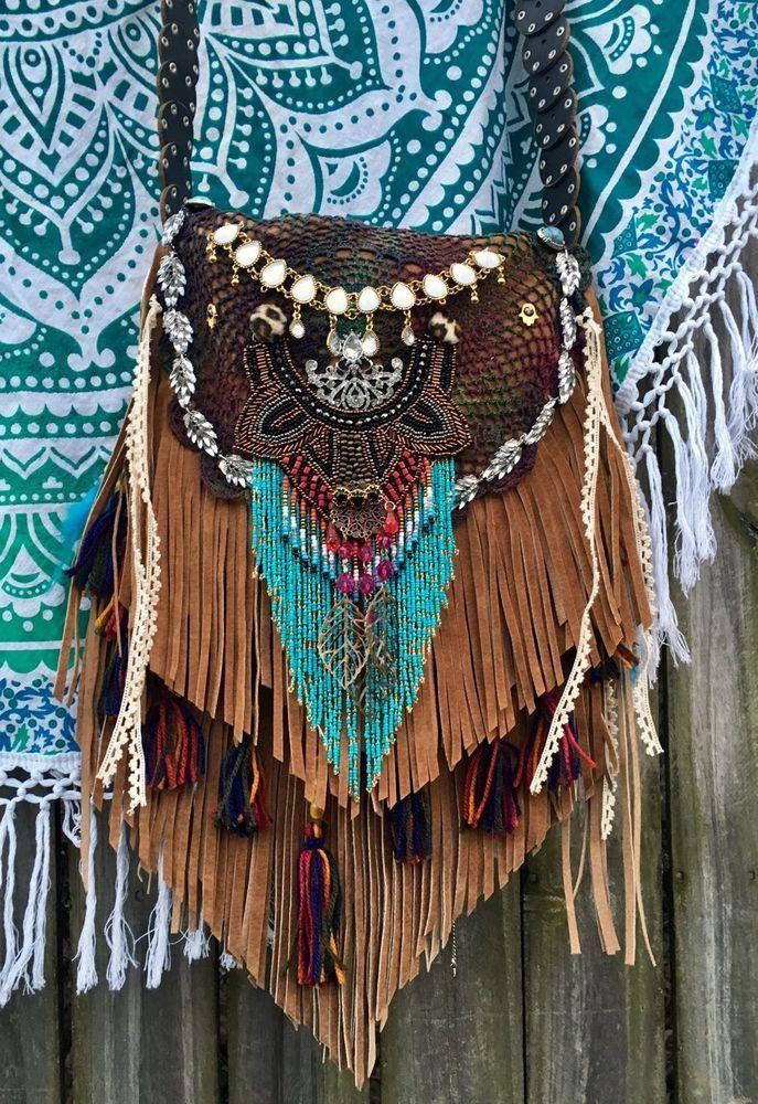 Handmade Camel Tan Leather Fringe Bag Hobo Boho Hippie Gypsy OOAK L. Purse B.Joy  | eBay