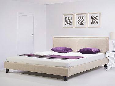 Polsterbett 180x200 cm - Bett - Stoffbett inkl. Lattenrost - Doppelbett - Beige - REVEL