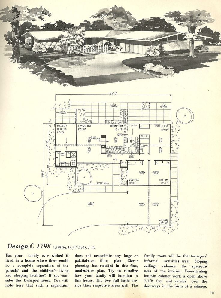 Vintage house plans mid century homes 1960s houses for 1960s floor plans