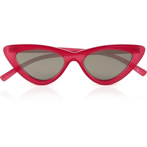 Le Specs The Last Lolita Sunglasses ($90) ❤ liked on Polyvore featuring accessories, eyewear, sunglasses, pink, cateye sunglasses, pink glasses, summer glasses, cat eye sunglasses and pink sunglasses