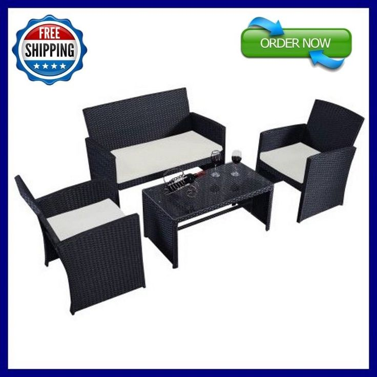 Rattan Furniture Set 4 PC Patio Wicker Sofa Garden Outdoor Cushioned Lawn #Goplus