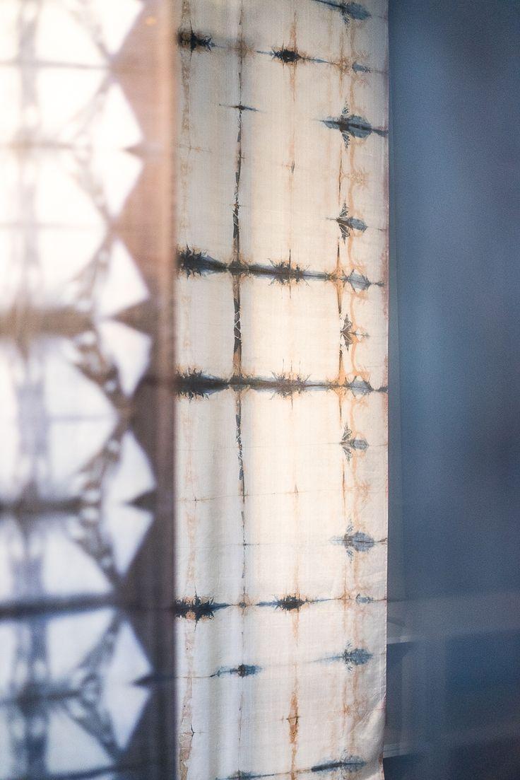"""""""Jasność"""" (pol. brightness), silk material died in logwood, technique: shibori and own by Katarzyna Schmidt-Przewoźna for Dekoma"""