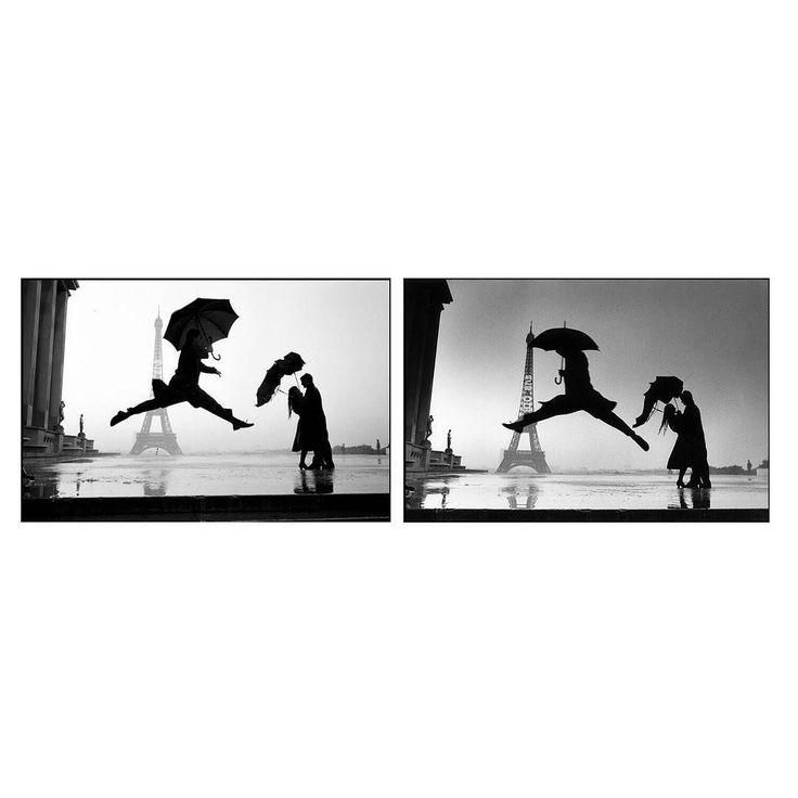 Cuando llovía  Erwitt y Cartier-Bresson se colgaban al cuello sus Leica para hacerse fotos saltando en la torre Eiffel junto una pareja inamovible pese a la lluvia y su paraguas roto.  Izquierda: Elliott Erwitt Derecha: Henri Cartier-Bresson  #morninginspiration