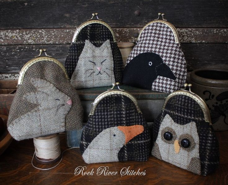 Wool coin purses, appliquéd with animals