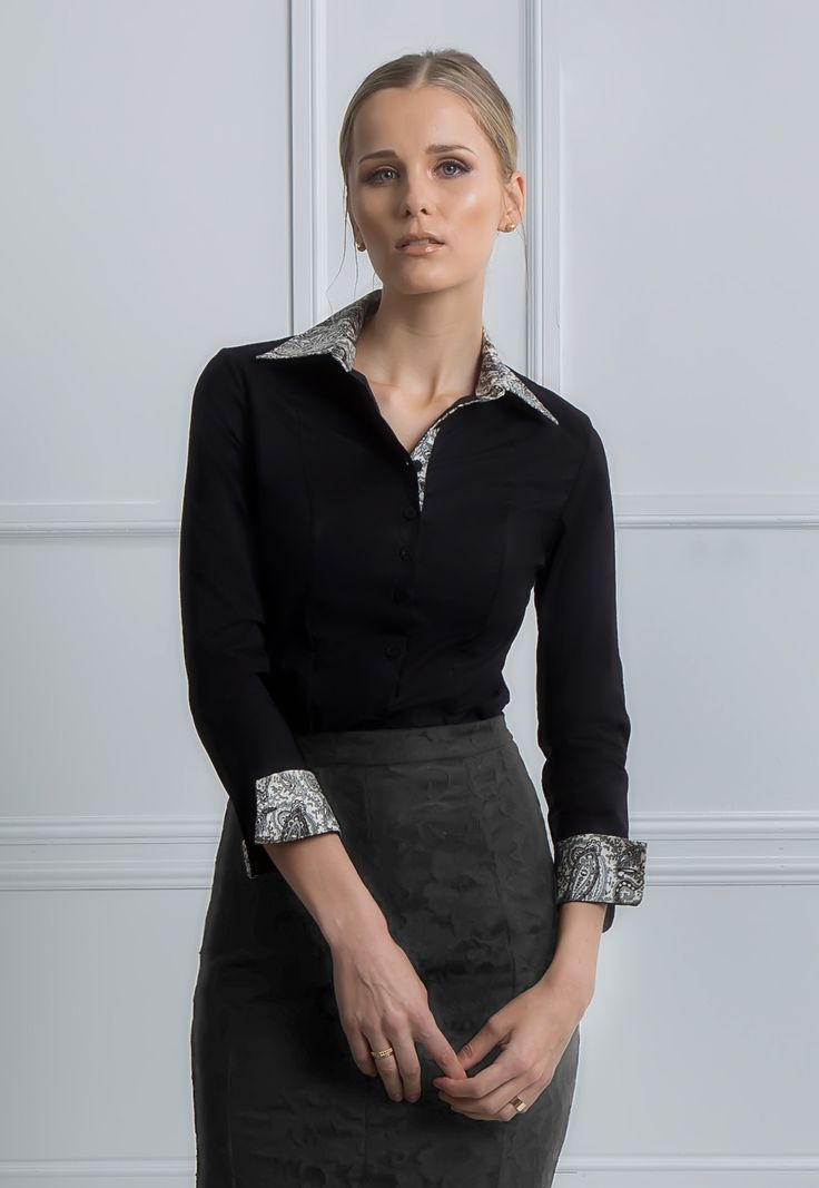 Marcela - Black button down women fitted shirt