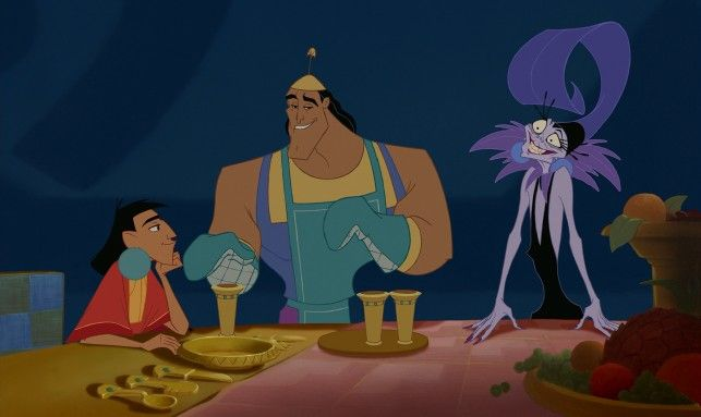 "Kronk and Yzma's poisoning of Kuzco does not go as planned in ""The Emperor's New Groove"": http://www.dvdizzy.com/emperorsnewgroove-2moviecollection.html"