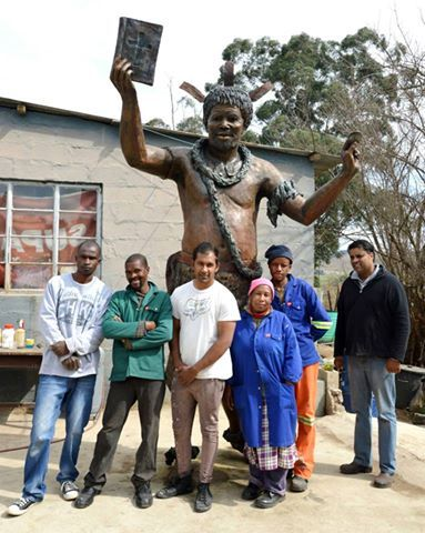 King Sobhuza 1 - 3m high bronze sculpture The foundry Staff at Sculpture Casting Services in Lidgetton, KZN. They turned my Plasticine sculpture into Bronze - truly wonderful! Well done and think you team!! — in Manzini, Swaziland. www.sarahrichards.co.za #bronzebabe #sarahrichards