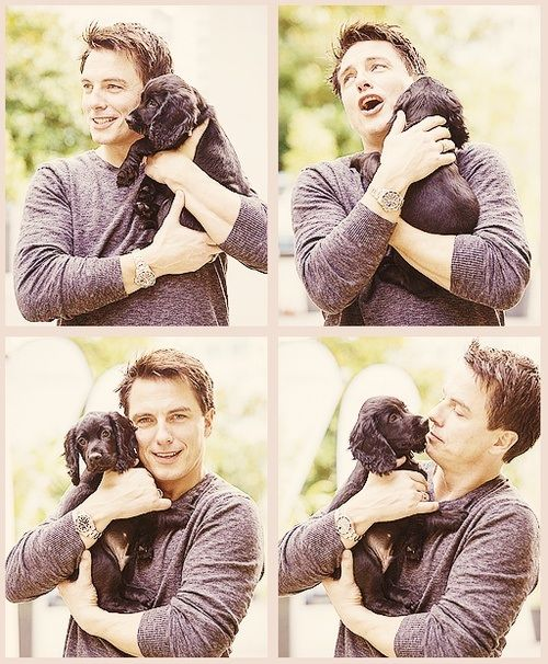John Barrowman + puppy    oh my lanta, the cuteness is unbearable.