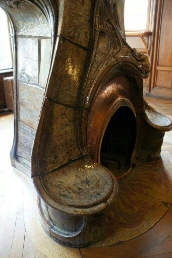 Art Nouveau fireplace art!