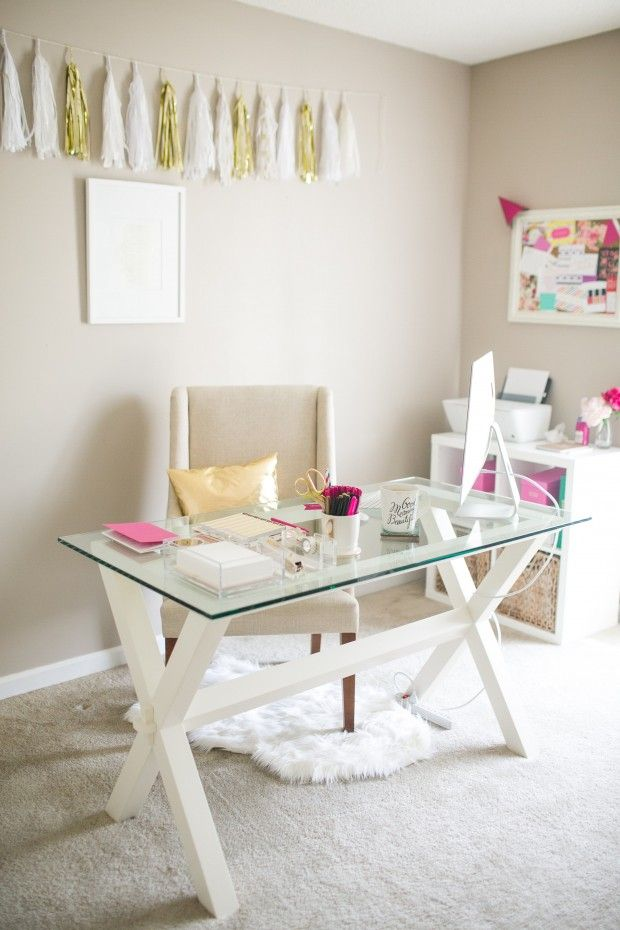 Feminine office | office decor | home office | glass desk | white chair | white rug | boss babe | girl boss | workspace | creative spaces