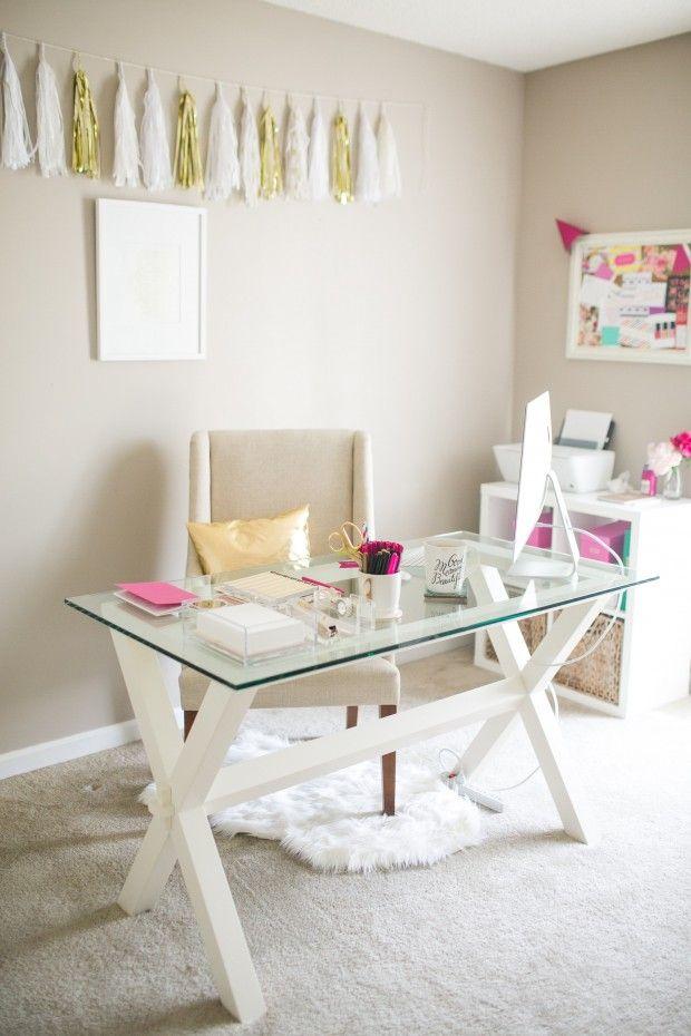 Feminine office | office decor | home office | glass desk | white chair | white rug | boss babe | girl boss | workspace | creative spaces